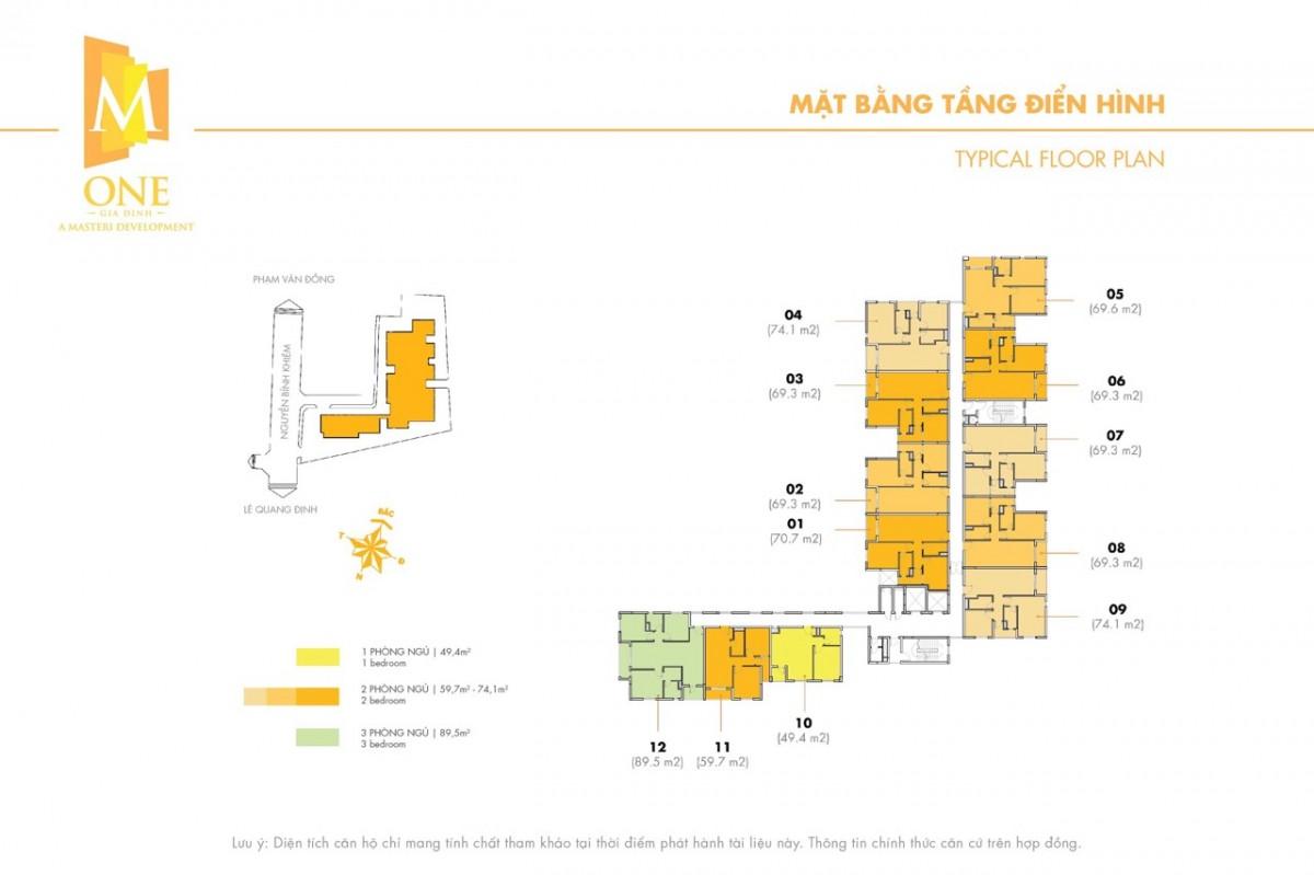 Mặt bằng tầng căn hộ M-One Gia Định